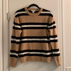 Forever 21 Soft Tan, Black, White Striped Sweater